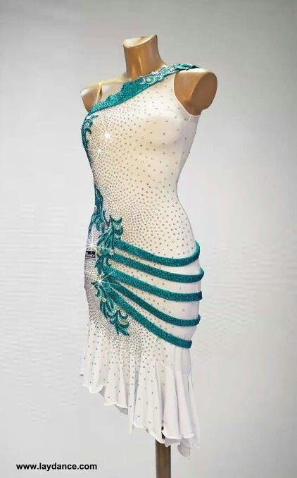 .white and blue crystal applique fringe latin dress
