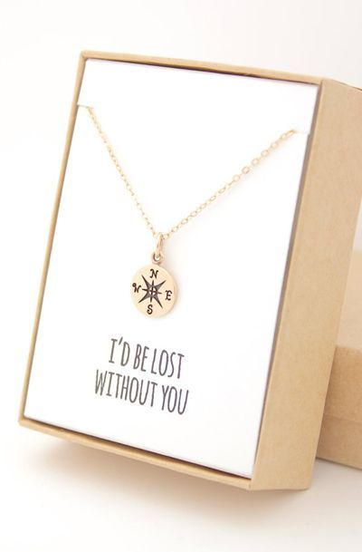 Gold Compass Necklace - I'd be lost without you - Mother's Day