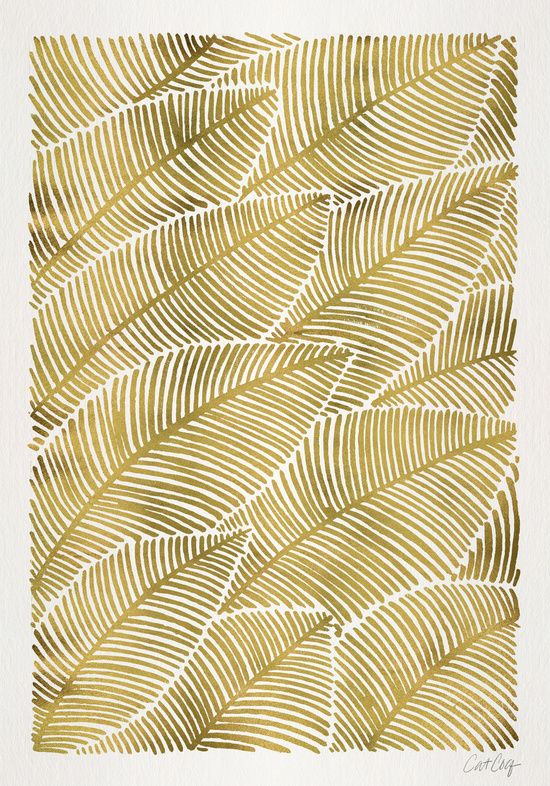 Tropical Gold Leaves by Cat Coquillette (society6)                                                                                                                                                                                 More