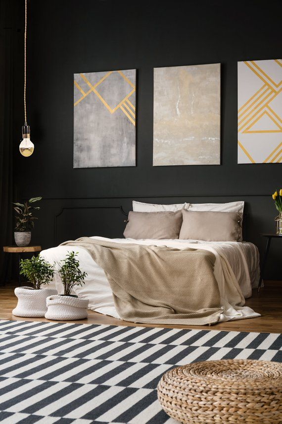Modern Bedroom Pendant Light In Black And Gold This Simple With Stripe Looks Great The Add A Dipped Bulb For An