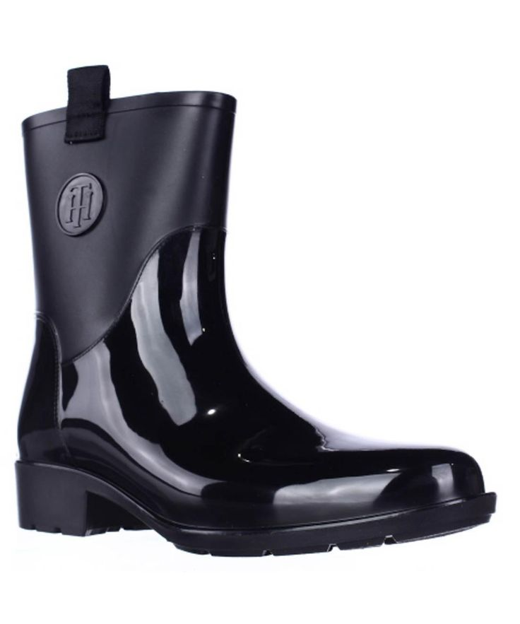 TOMMY HILFIGER Tommy Hilfiger Khristie Pull On Tab Ankle Rain Boots - Black'. #tommyhilfiger #shoes #boots & booties