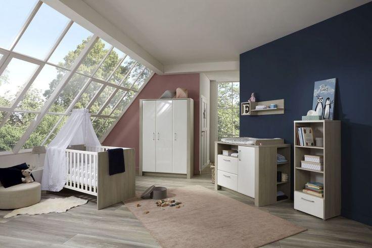 Babyzimmer Bibo Weiß MDF Wickelkommode Kleiderschrank Babybett Kinderzimmer