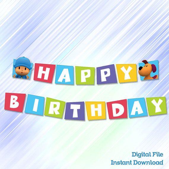 banner happy birthday pocoyo instant dowload por migueluche