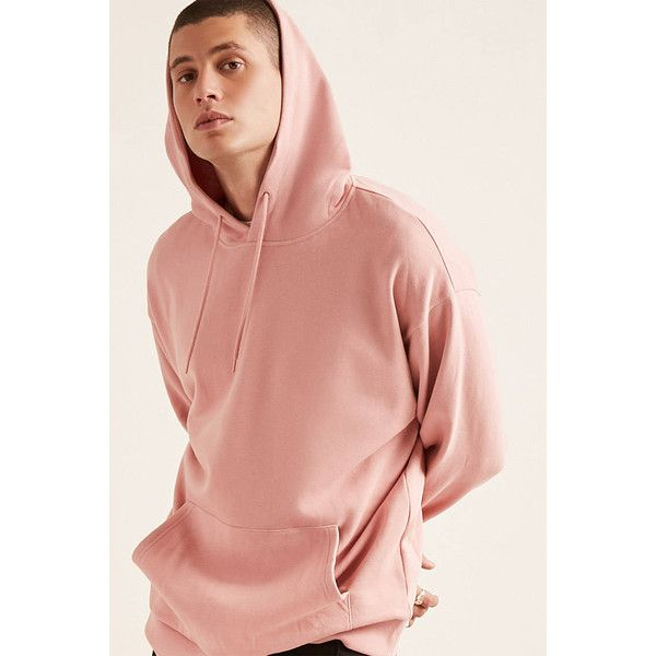 Forever21 Drop-Shoulder Fleece Hoodie ($18) ❤ liked on Polyvore featuring men's fashion, men's clothing, men's hoodies, pink, mens sweatshirts and hoodies, mens short sleeve hoodies, mens fleece hoodies, mens fleece lined hoodies and mens hoodies
