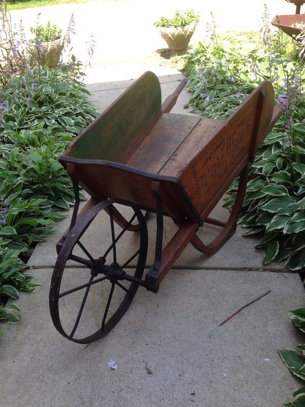 Wooden wheelbarrow If cradle is disassembled, use rockers as base for wheelbarrow!!!