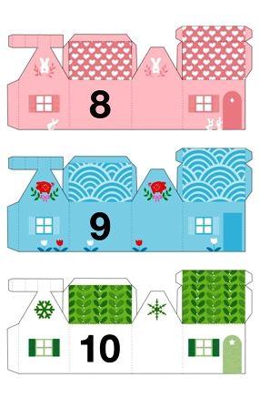 adventní městečko - papírový domeček, vystřihovánka, adventní kalendář