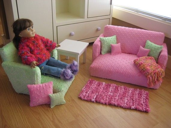 18 Inch Doll Furniture For American Girl Doll Livingroom Set Pink Brown Couch Chair Table Lots