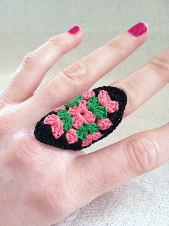 Crocheted Granny Square Ring / Coral Green Black by CsqDesigns, $9.00 #crochet