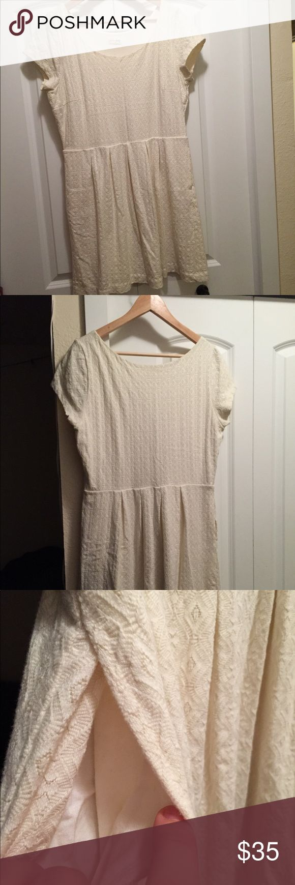 "Maison Jules Cream Cap Sleeve A-Line Dress Like new, worn only once. Beautiful texture, side pockets, flattering fit.  39"" total width at base of sleeves, 35"" waist 35"" long from shoulder Maison Jules Dresses"