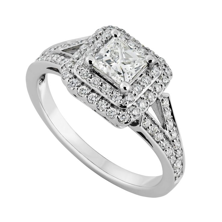18ct White Gold 085 Carat Princess Cut Diamond Ring