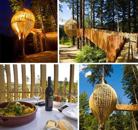 Yellow Treehouse Caf Built around a redwood tree near Auckland, New Zealand,  the Yellow