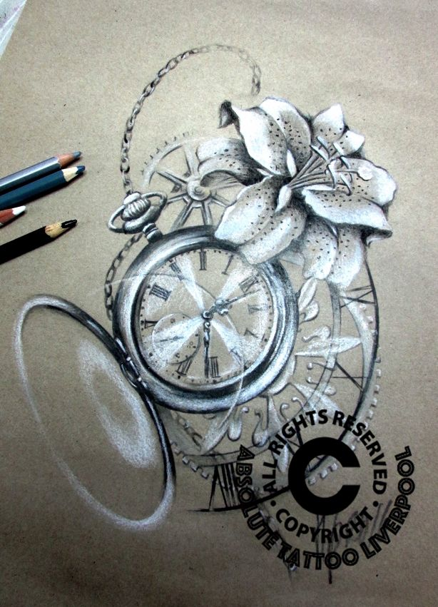 pocket watch lily tattoo sketch