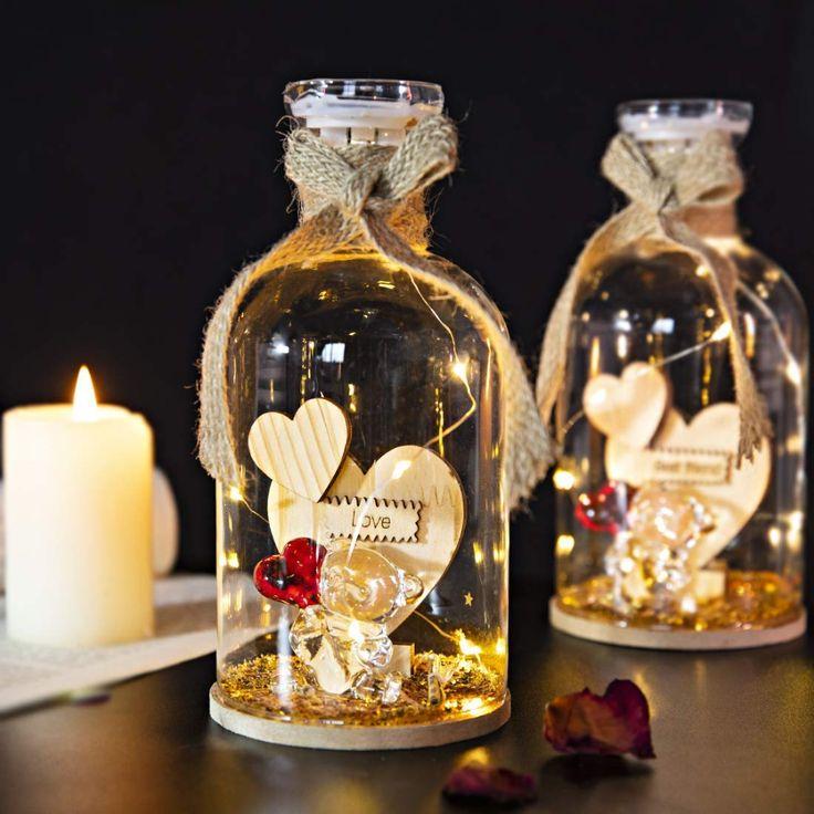 Hd crystal glass love bear figurine with led