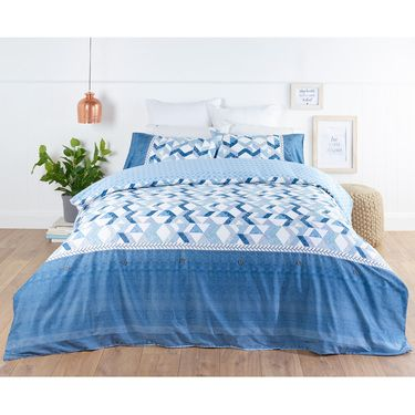 KOO Panama Quilt Cover Set Blue Queen