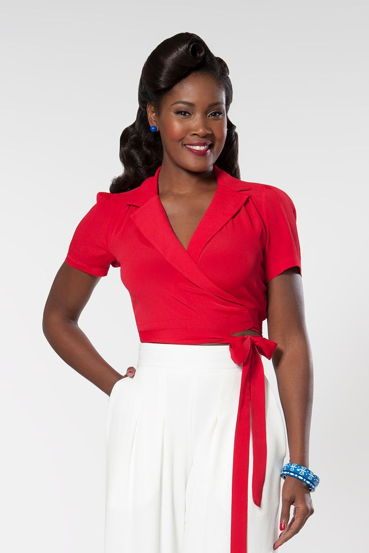 Greta Short Sleeve Wrap Blouse in Red | Pinup Girl Clothing