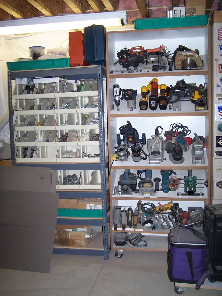 Tools Organized Ideas For The Garage ? Love The Slanted Shelves For The  Power Tools!