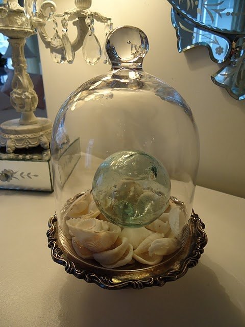 vintage glass ball floats... under glass... <3