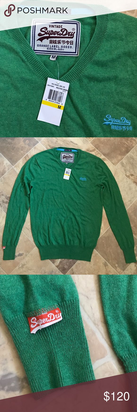 NWT Superdry Men Sweater Cashmere JP Soft Warm New 100% authentic and brand new. $120 original price. The info tag is still attached. Cashmere cotton blend. Not nylon. Nice!! Big sale here!!! Superdry Sweaters Crewneck