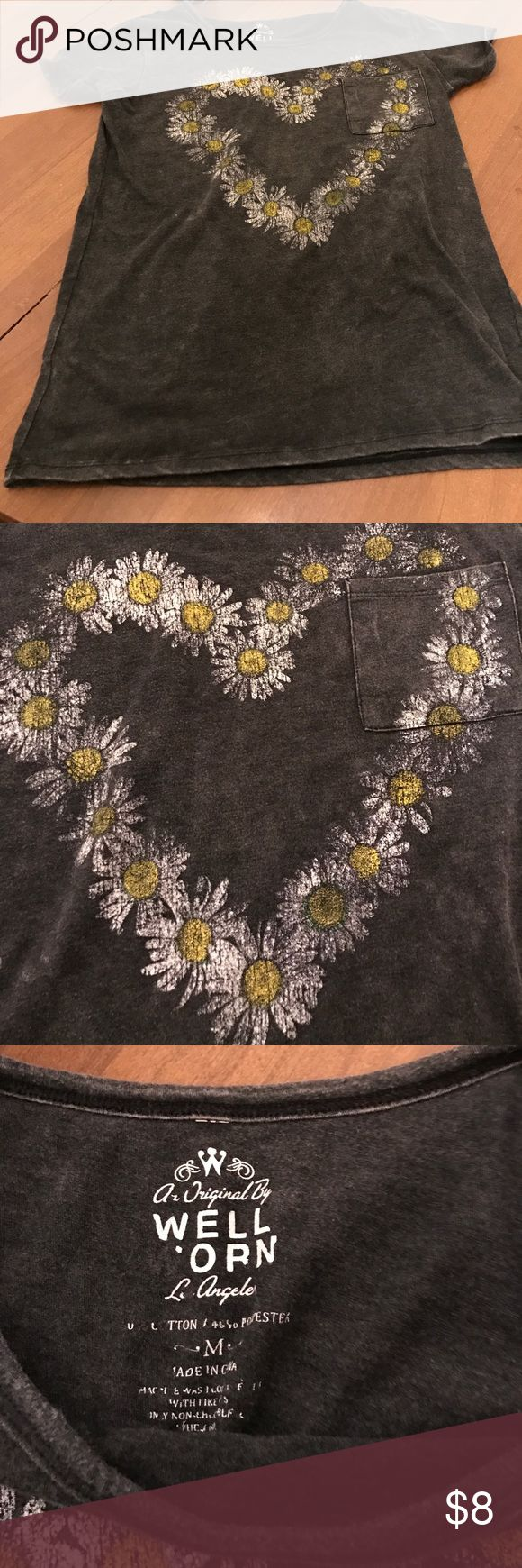 ~~~REPOSH~~~ Sunflower heart shirt Reposting this cute sunflower heart shirt. Too small for me unfortunately. Great condition. Has a faded look to it well worn Tops Tees - Short Sleeve