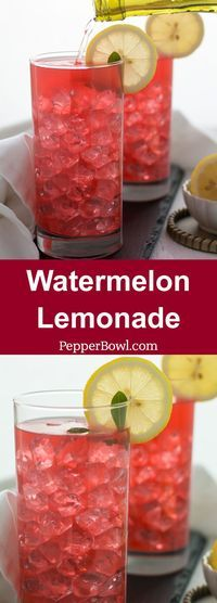 Watermelon Lemonade Recipe, super simple, great for parties and large gatherings. Very healthy and refreshing drink.   http://pepperbowl.com via /pepperbowl/