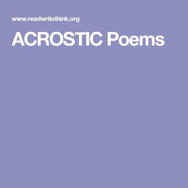 ACROSTIC Poems