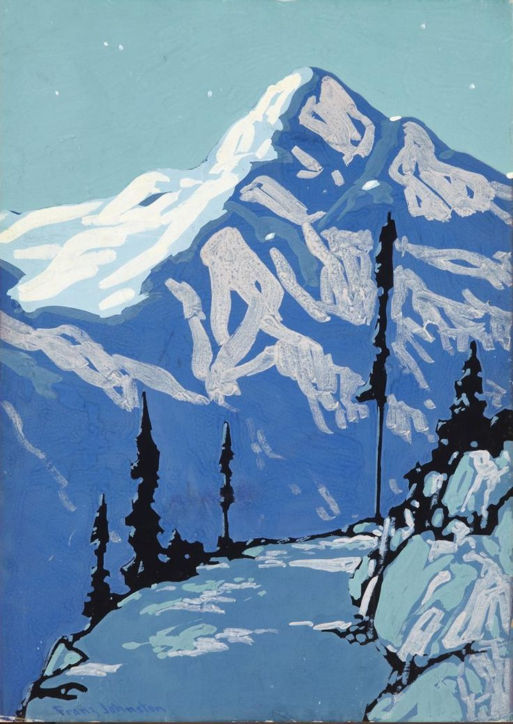 lawrenceleemagnuson:Frank Hans Johnston (Canada 1888-1949) Night Above Lake Louise (n.d.)tempera on card 35.6 x 25.4 cm