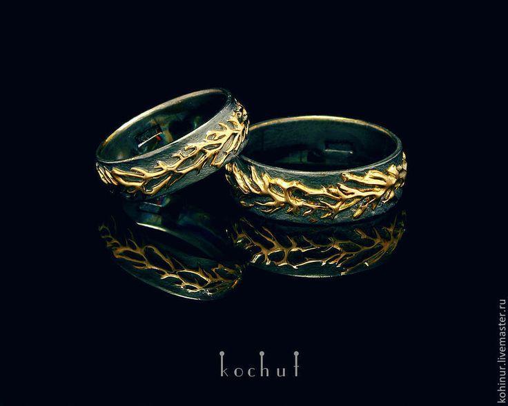 """Купить Обручальные кольца """"Лесные"""" Серебро. Золото. - хаки, черный цвет, обручальные кол"""