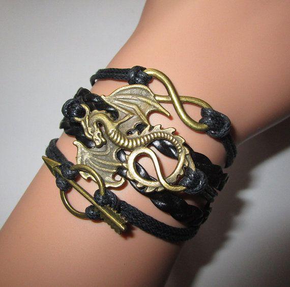 Game Of Thrones Bracelet.Khaleesi Dragon bracelet.Daenerys Dragon bracelet.arrow bracelet,suede bracelet,infinity black friendship bracelet