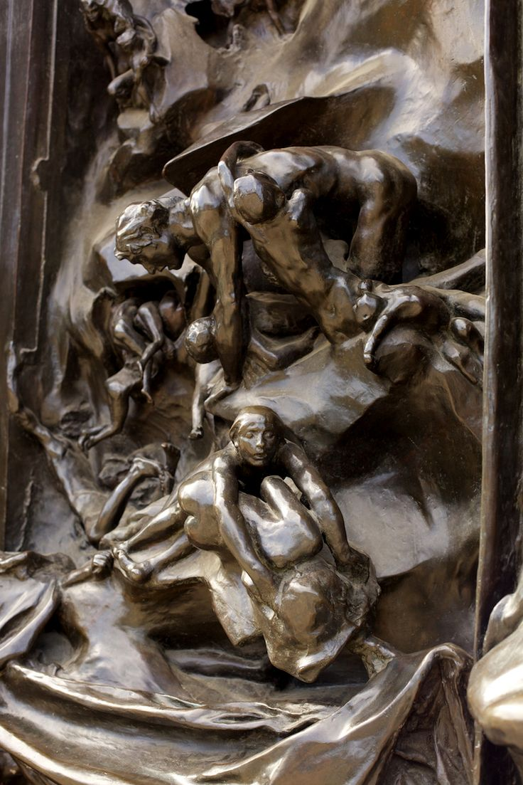 """Detail of """"La Porte de l'Enfer"""" (""""The Gates of Hell"""", by Auguste Rodin. Depicts a scene from """"The Inferno"""", the first section of Dante's """"Divina Comedia"""". 6 ..."""