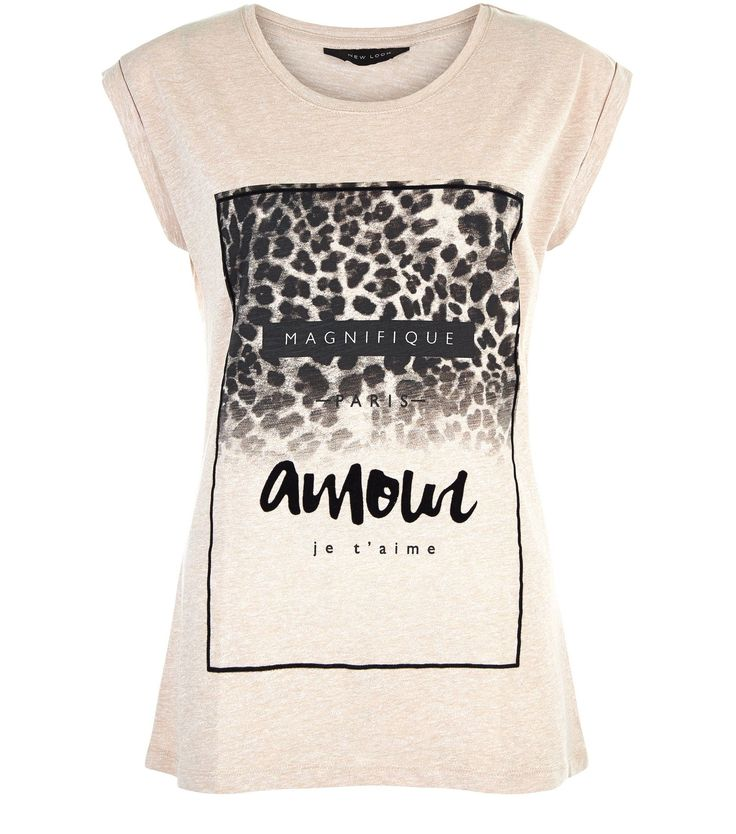 Cream Amour Leopard Print Roll Sleeve T-Shirt  | New Look