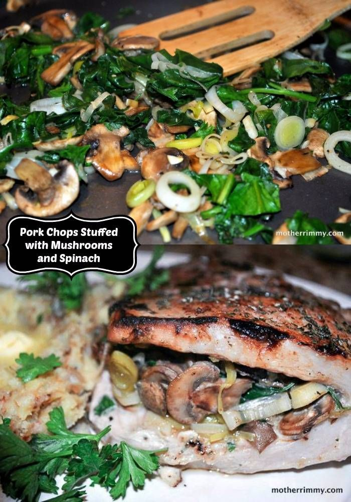 These baked pork chops stuffed with mushrooms and spinach make an elegant presentation for company dinners.
