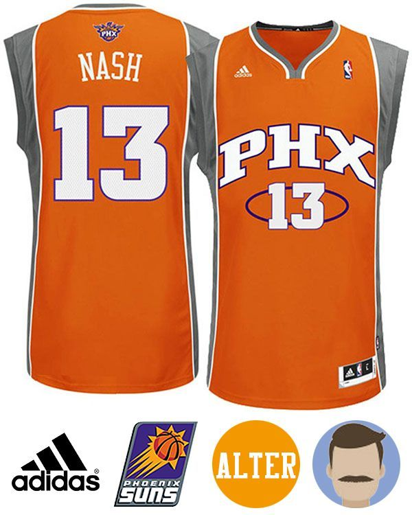 Support your favorite team in comfort with the Men's Adidas Phoenix Suns #13 Steve Nash Orange Revolution 30 Swingman Alternate Jersey! This pro-quality licensed jersey is made of quick-drying, breathable and durable polyester mesh. A this officially licensed jersey features the Phoenix Suns on the