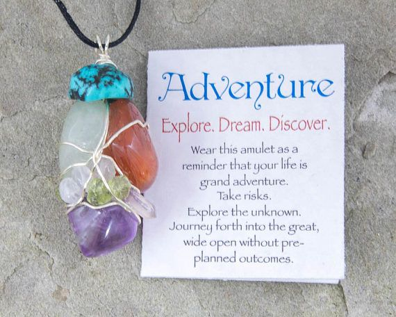 Adventure Amulet, Wire Wrapped Pendant, Carnelian, Amethyst, Turquoise, Moonstone, Peridot, Quartz Crystal Point, Healing Crystal Amulet