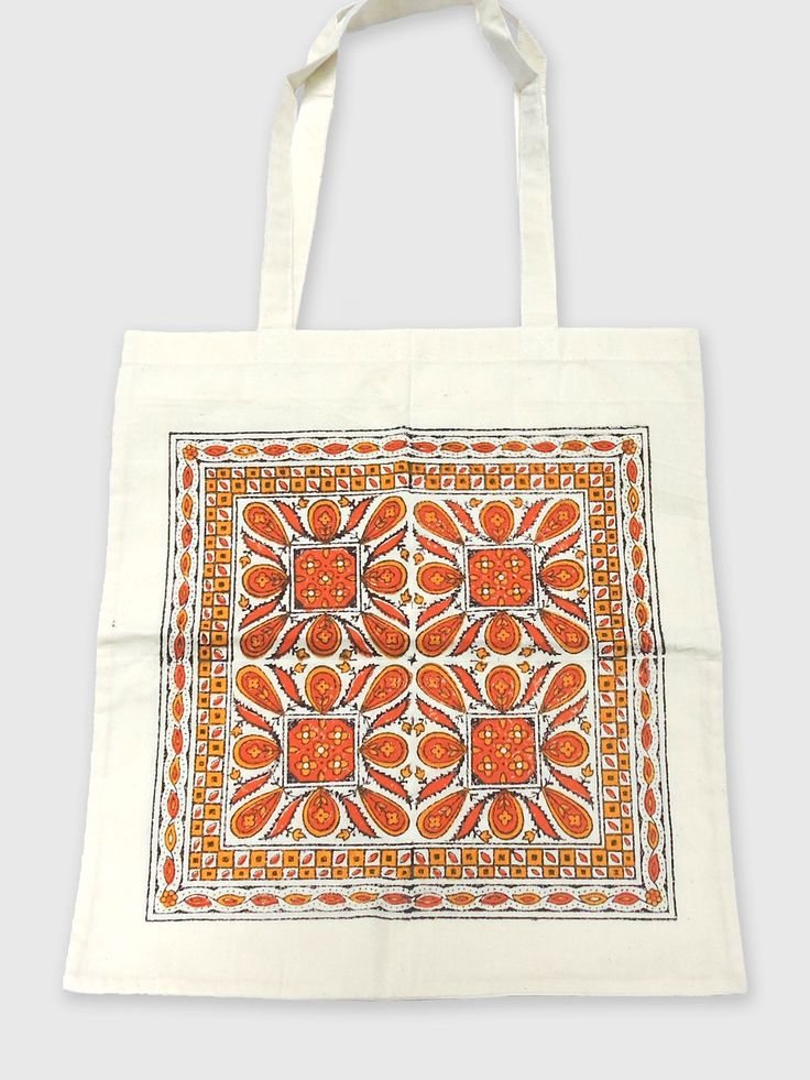 Beautifully hand-crafted white cotton and canvas bag with Long handle.