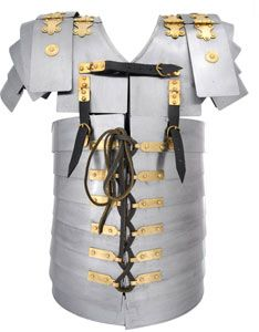 Roman Lorica Armor for sale weighs 25 pounds. Roman Lorica Segmentata like this one was a type of medieval armor that was used by the military of ancient Rome.
