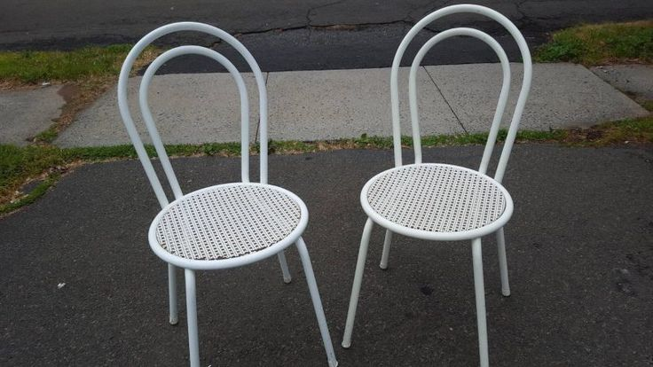 Lawn Garden Chic Matching Pair Of Vintage Outdoor Patio Chair Tubular Steel Constuction Minimal Maintenance Required Comfortable Patio Seating Vintage Metal Patio Chairs