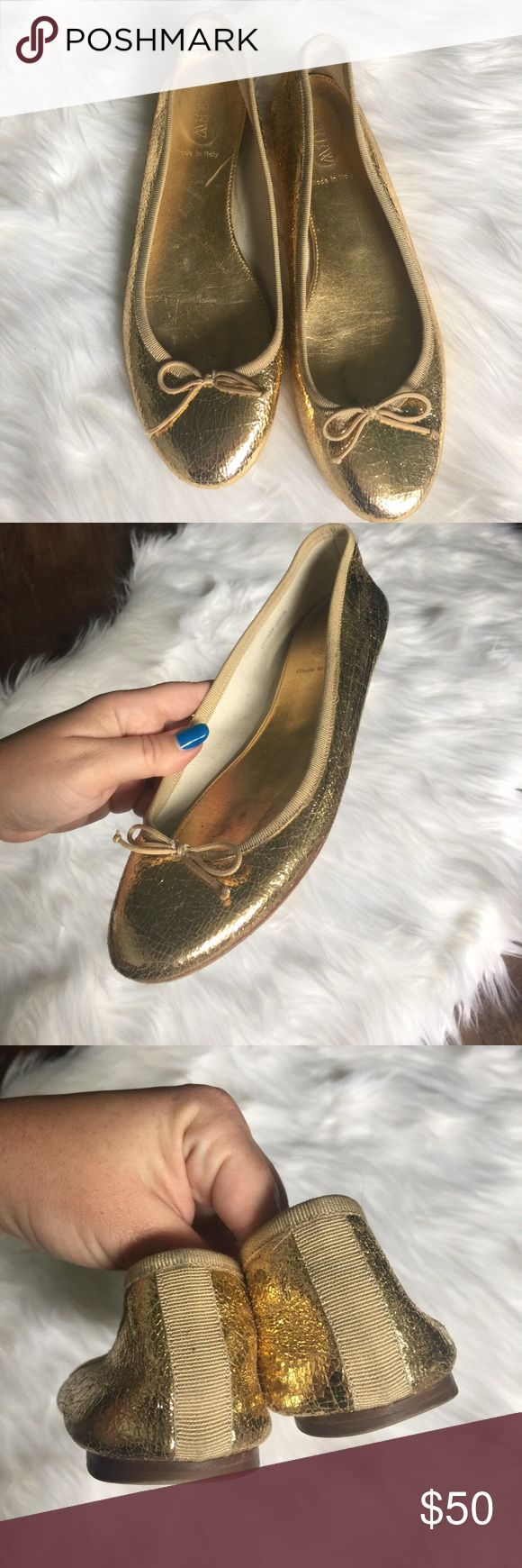 J. Crew Italian Made Gold Metallic Ballet Flats J. Crew Italian Made Gold Metallic Ballet Flats.  Leather.  Preloved but in great condition.  Size 7.5. J. Crew Shoes Flats & Loafers