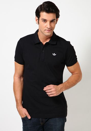 Adidas Originals Black Pique Polo T Shirts