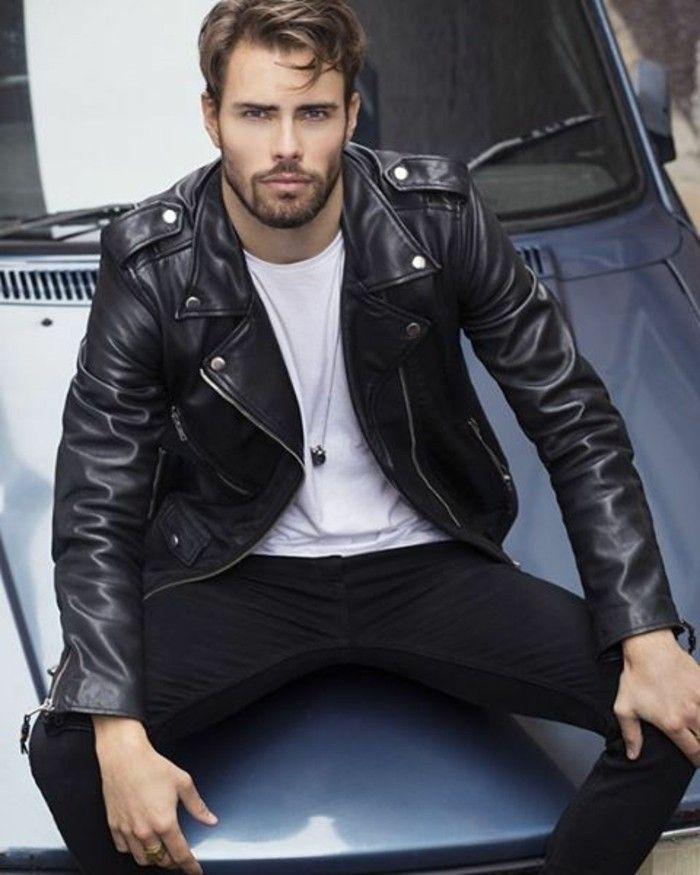 blouson cuir homme redskins tendances mode homme 2016 denim noir t shirt blanc
