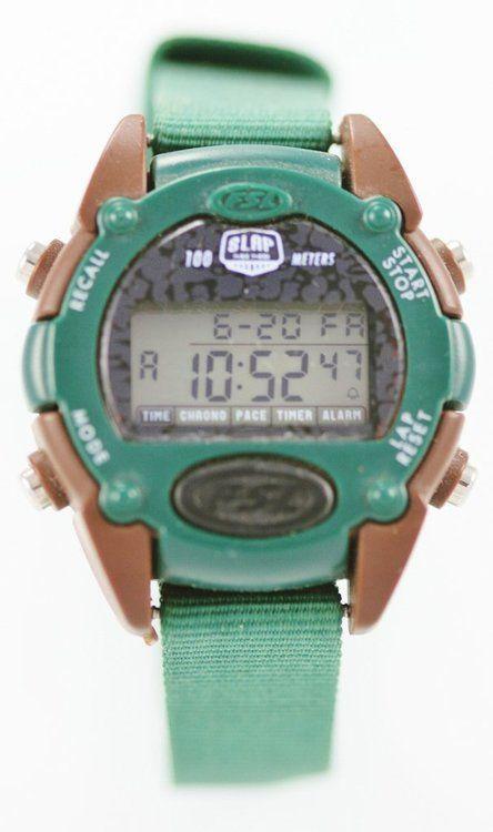 Fossil FSL Watch Women Green Black Light Date Alarm Timer Chrono 24h 100m Quartz