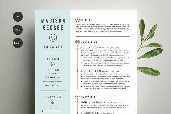 Resume & Cover Letter Template by Refinery Resume Co. on @creativemarket Ready for Print Resume template examples creative design and great covers, perfect in modern and stylish corporate business. Modern, simple, clean, minimal and feminine layout inspiration to grab some ideas.