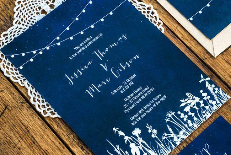 3 Eggs Design @Etsy, Hanging Lights Garden Wedding Invitations ($54.31)