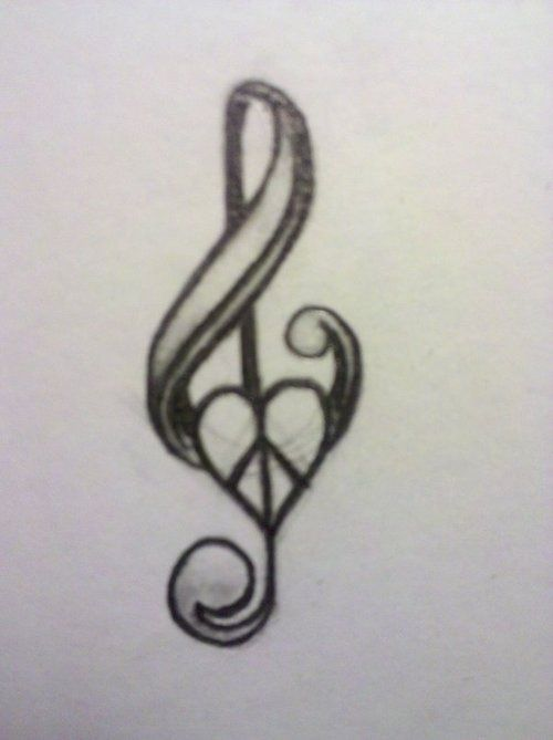 Music note and peace sign tattoo, behind ear -- i would LOVE this tattoo behind my ear