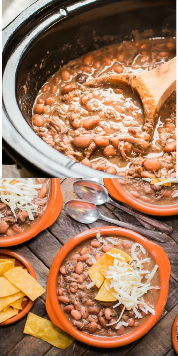 Slow Cooker Pinto Beans and Beef. Creamy Beans and Tender beef come together in one pot!