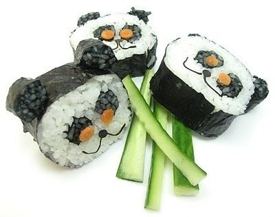 Panda Sushi. My kids would love this! Couper's favorite animal is a panda, and both kids love sushi!