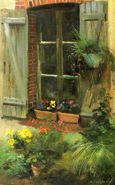 Livre2-048.jpg (375×600). Love this windowsill painting with the flowers.