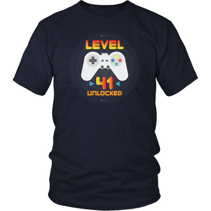 Men's 41st Birthday Gift - Level 41 Unlocked Funny Gamer T-Shirt