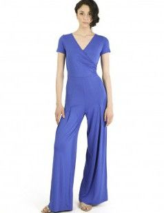 Cup sleeve wrap front blue jumpsuit-15 euros