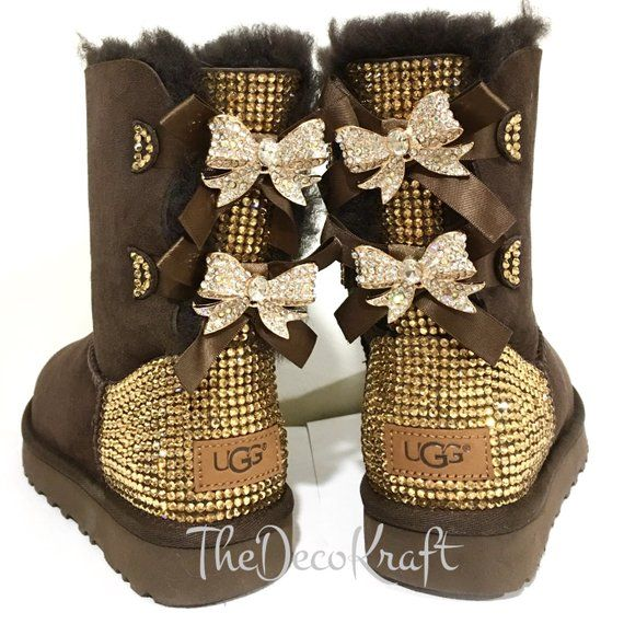 18153d732d8 Bling Ugg Bailey Bow, Women's Custom Chocolate Ugg Boots Swarovski ...