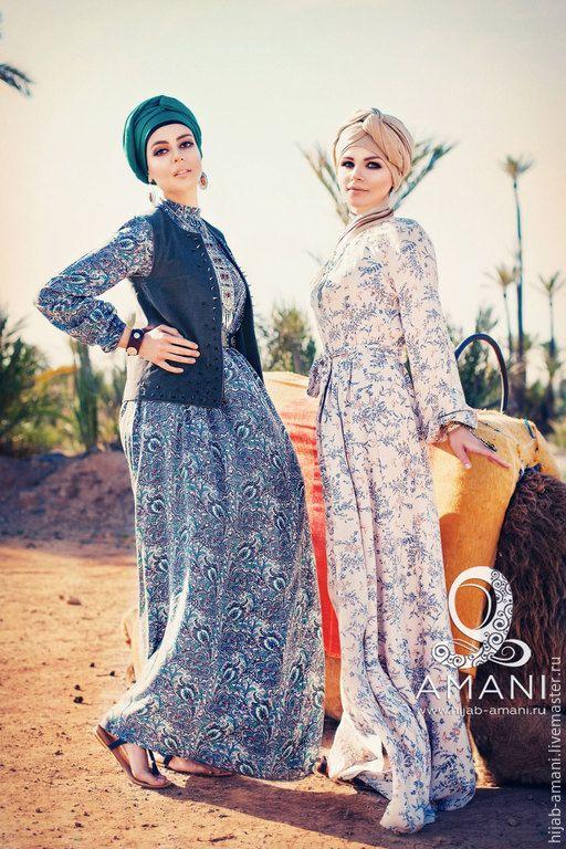 Купить Платье Манифа - серый, пейсли, мусульманская одежда, мусульманские платья, длинное платье, хиджаб